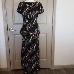 Talbots 2 PC Black Floral Long Skirt Set